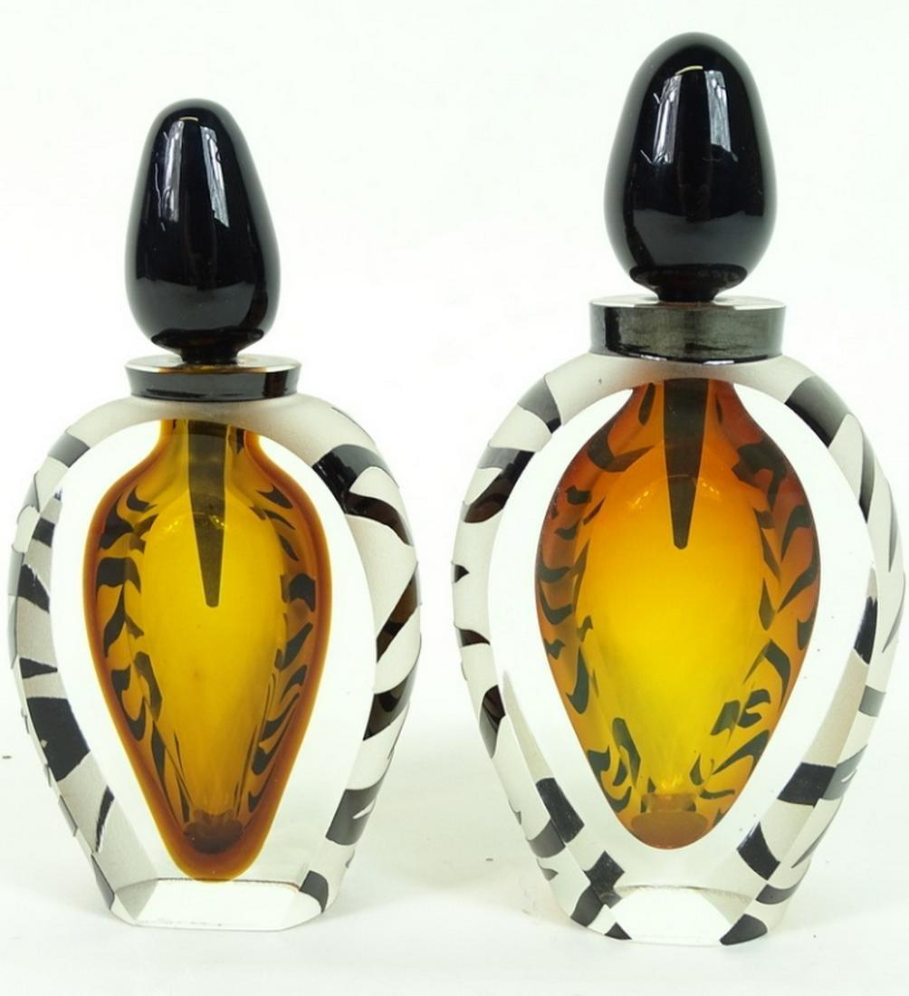 Hand Blown Heavy Murano Art Glass Modern Perfume Bottle
