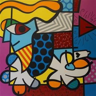 Romero Britto (BRAZILIAN, 1963) Acrylic On Canvas