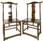 (2) A Pair of Chinese Carved Wooden Chairs