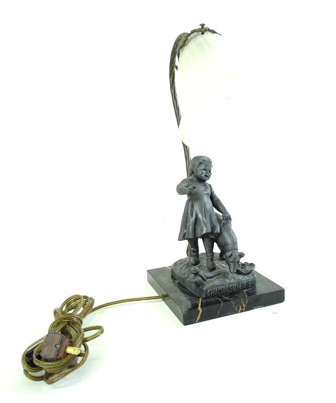 Art Deco Bronze Figural Lamp - Marble Mount