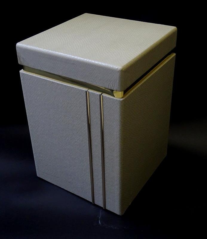 Contemporary Snakeskin & Brass Side/Accent Table