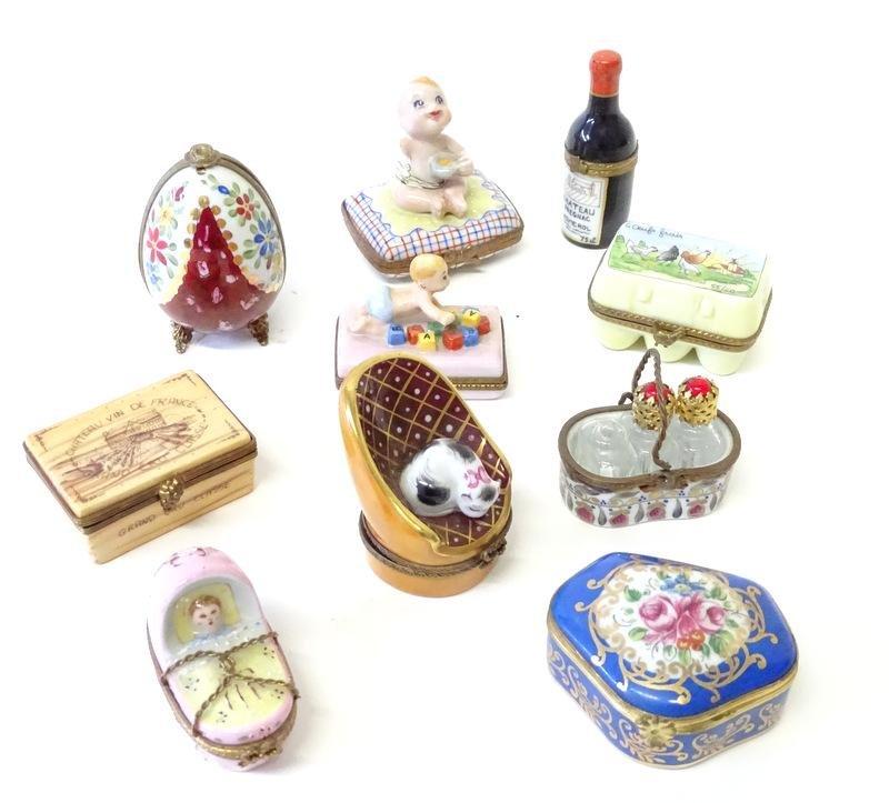 (10) Ten limoges porcelain Pill Boxes