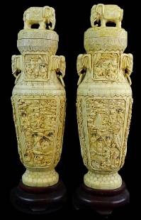 A Large Pair of Chinese Export Bone Elephant Urns