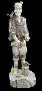 A Large Chinese Export Bone Fisherman Sculpture