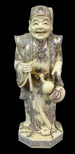 A Single Chinese Export Bone Dice Wise Man Figure