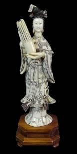A Large Chinese Export Quan Yin Bone Sculpture