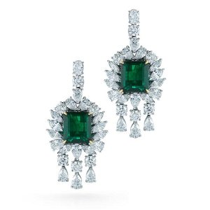 18k Gold 14ct Diamonds and 14ct Emerald Earrings