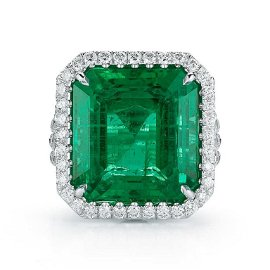 18K 17.39ct Emerald and Diamond Ring GIA Cert.