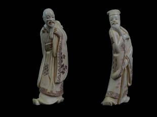 Pair of Chinese Carved Sculptures