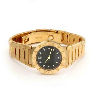 Bvlgari Diamond Dial 18k Ladies Quartz Wrist Watch