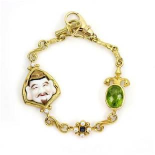 Tesora 972ct Diamond Gems Face Charm Bracelet