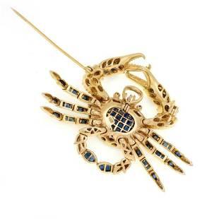 575ct Diamond Sapphire Crab PendantBrooch