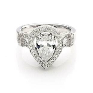 New 133ct F SI2 Diamond 14k Gold Ring GIA Cert