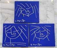 Romero Britto, Set of 3 Blue Series, Oil & Pen