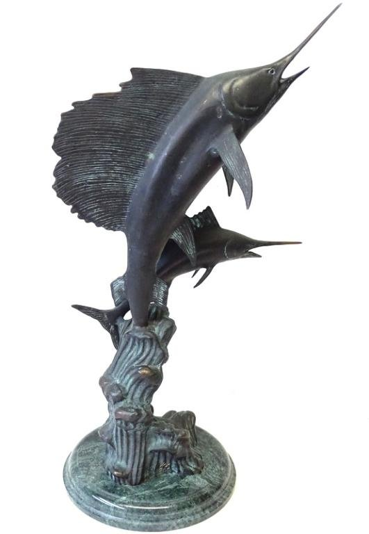 Contemporary Wyland Style Marlin Sculpture