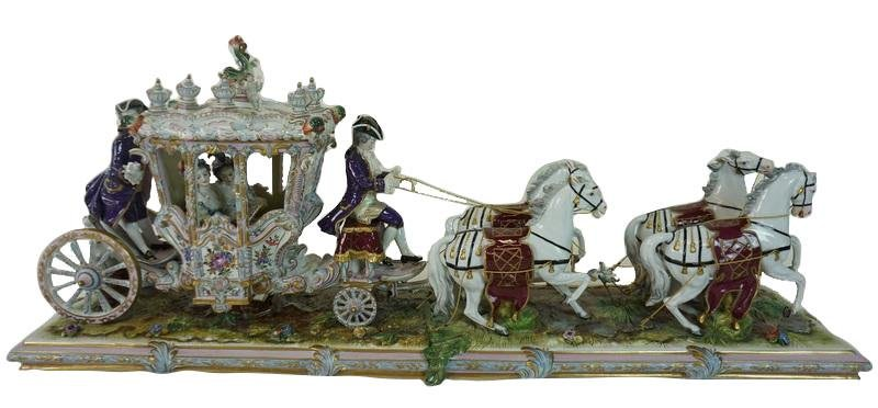 Large Dresden Porcelain Carriage Group