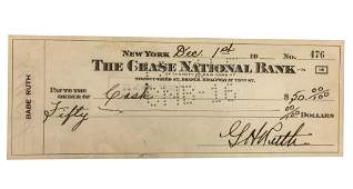 Autographed Babe Ruth Dual Signed 1946 Check PSA /