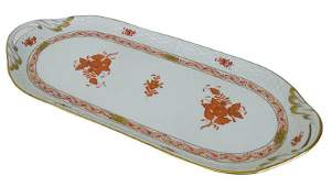 Herend Chinese Bouquet Rust Porcelain Long Tray