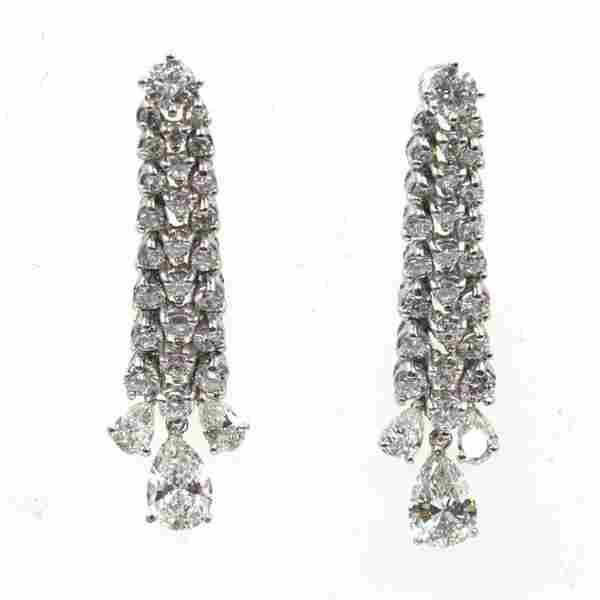 1970's Diamond Platinum Dangle Earrings