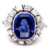 1950s No Heat Ceylon Blue Sapphire Diamond Ring
