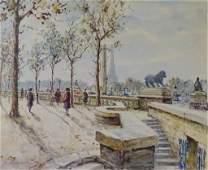 2 Two Watercolor French Paris Scene