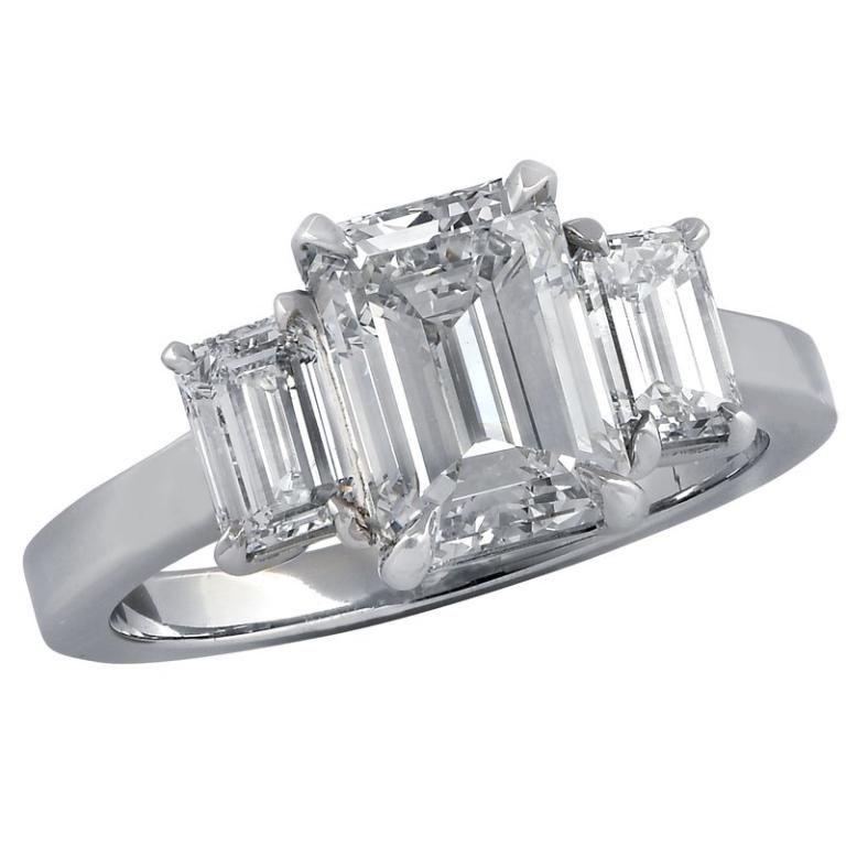 2.84 Carat Emerald Cut Diamond Platinum Ring