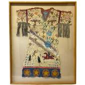 LARGE Native American Mixed Media Painting