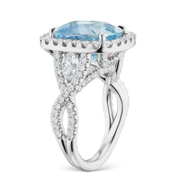 10.10ct Icy Sapphire And 2.15ct Diamond Ring