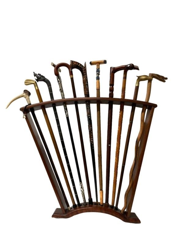 Wooden Cane Rack Set (11) Eleven Canes. See photos