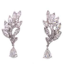2.07ct 1950's Diamond Platinum Drop Earrings