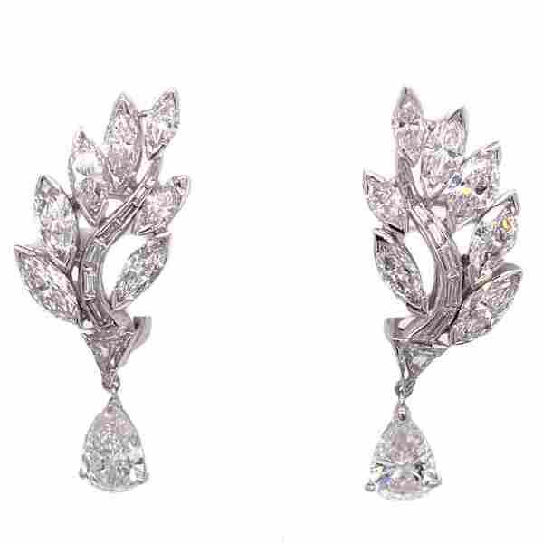 2.07ct 1950's Diamond Platinum Drop Earrings