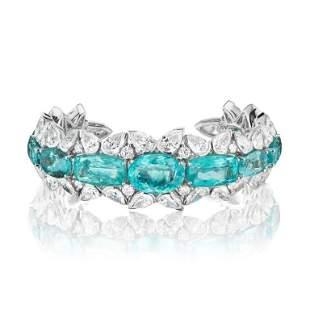 BEAUTIFUL PARAIBA AND DIAMOND CUFF BRACELET