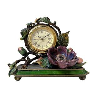 Jay Strongwater Enameled Desk Clock. Designed with