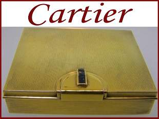 Art Deco Signed Cartier Compact Box with Sapphires