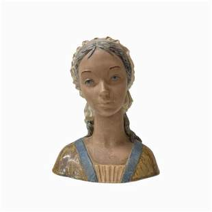 Lladro Porcelain Large Young Woman Head Figurine .