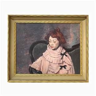 "Luis Tomasello ""Red Haired Woman"". Signed. Oil on"