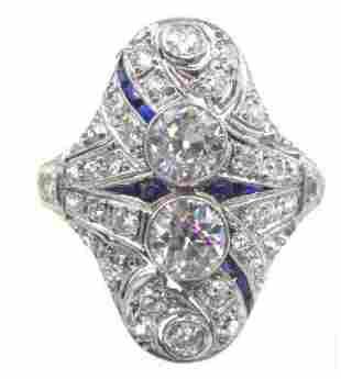 Art Deco Diamond Sapphire Platinum Cocktail Ring.