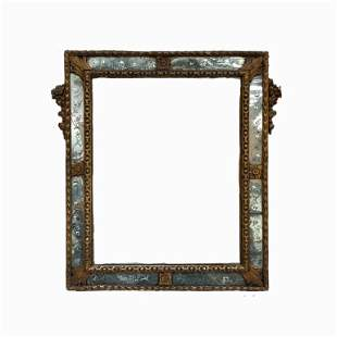 European Beveled Glass Vanity Mirror. Hand Carved Wood