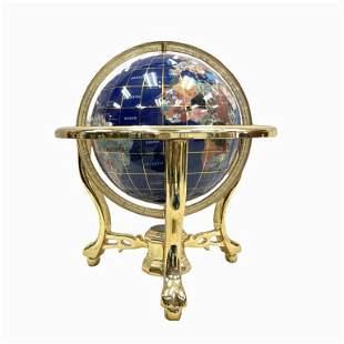Tall Blue Lapis Ocean Table Top Gemstone World Globe