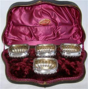 Antique English Victorian Set of Four Silver Salt
