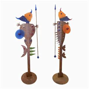 Pair of Life Size Metal And Art Glass Sculpture