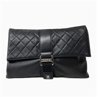 Chanel Fold Over Clutch Quilted Lambskin Medium