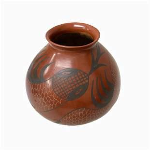 Maria Martinez Vintage Brown Pottery Vase
