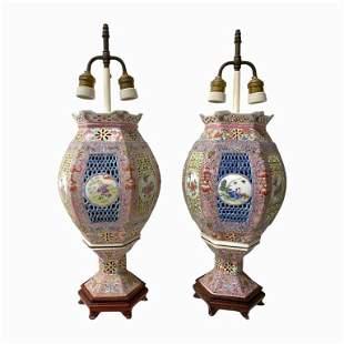 Pair of Vintage Chinese Porcelain Lantern Lamps