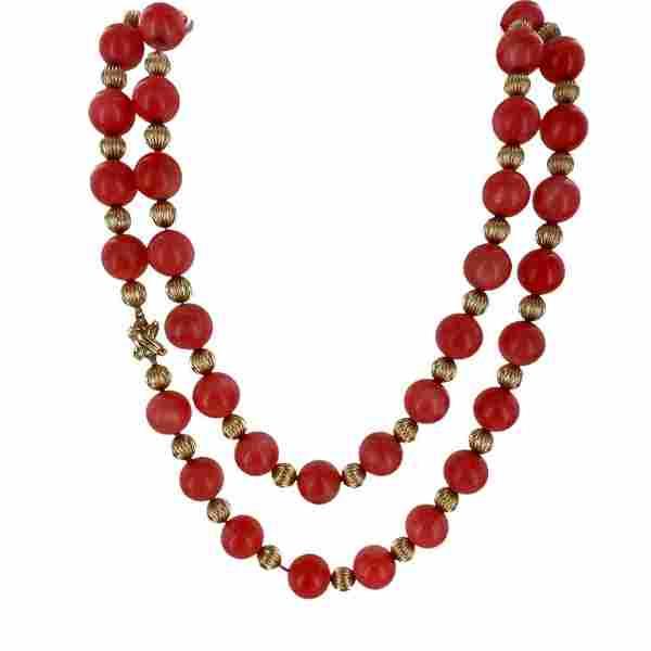"Tiffany & Co. Italian Coral Gold Bead Vintage 36"""