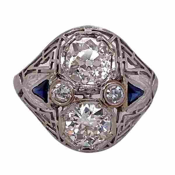 Art Deco Diamond Sapphire Accent Platinum Cocktail