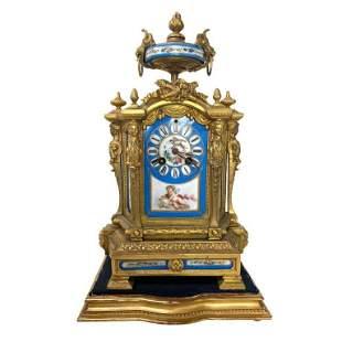 French Antique Bronze Clock, Sevres Blue Porcelain