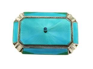 Art Deco Guilloche Enamel Silver Trinket Box
