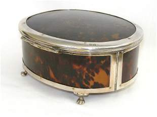 Antique English Sterling Silver Tortoise Shell Box