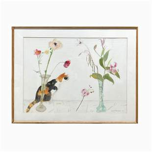 """Dame Elizabeth """"Tabby Cat, Poppies and Lilies"""""""